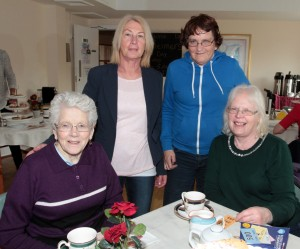 On Wednesday morning in Kerlogue Nursing Home at the Alzheimer's Tea party were Margaret Monahan, Marie Byrne, Ann Delaney and Bridie Wright